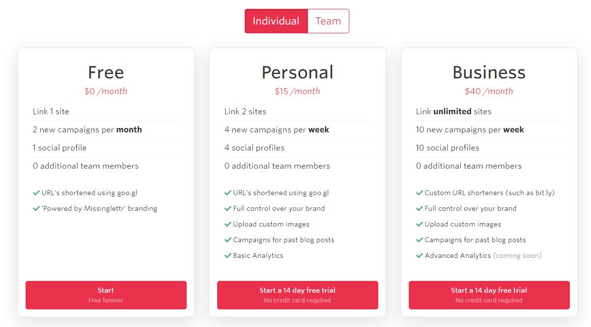 MissingLettr-Prijszetting-persoonlijke-betalingsplannen MissingLettr recensie: Geautomatiseerde social media voor kmo's en bloggers