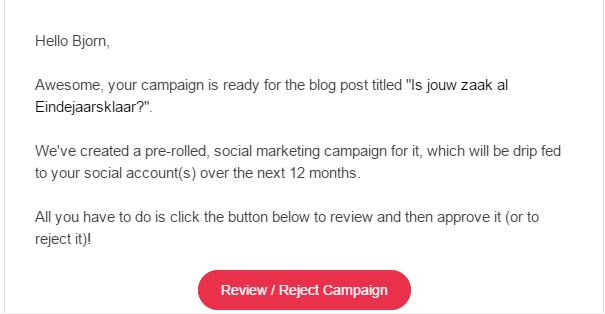 MissingLettr-campagne-klaar-bevestigingsmail MissingLettr recensie: Geautomatiseerde social media voor kmo's en bloggers